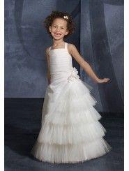 Taffeta and Tulle Ruched Bodice floor-length Flower Girl Dress