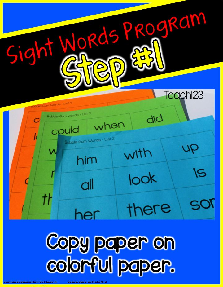 Teach123 - tips for teaching elementary school: Editable Sight Word Program