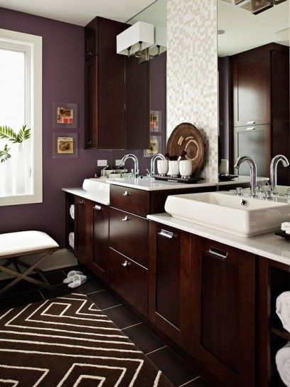 dark wood and purple bathroom