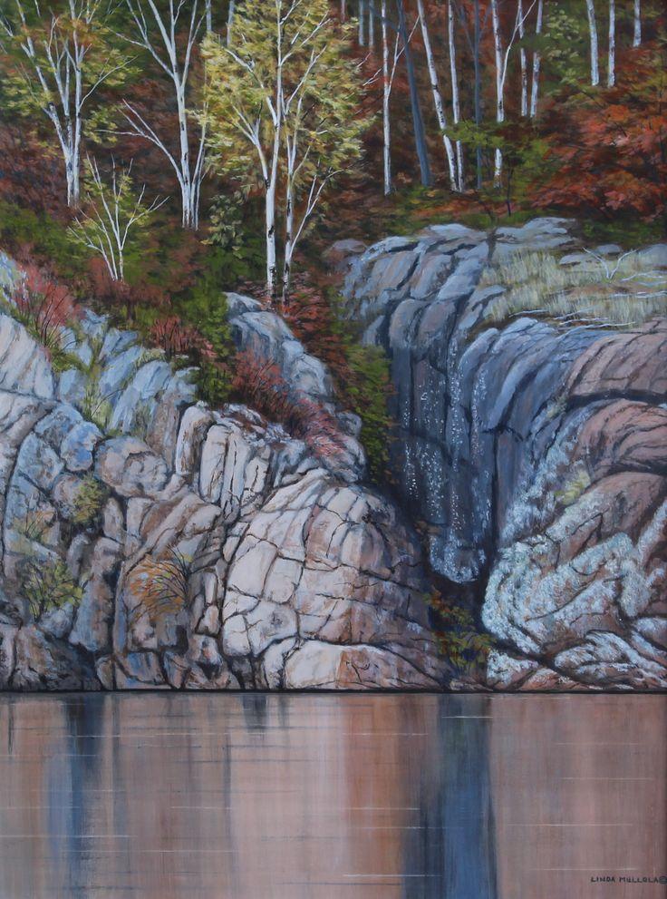"""Rock Patterns"" - Long Lake 24 x 18 Original Acrylic www.lindamullola.com"