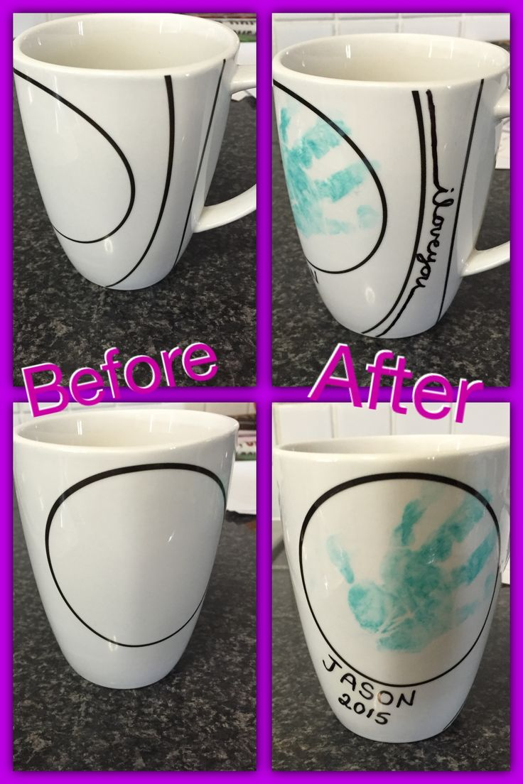 DIY keepsake mug  Equipment: mug, sharpie pen, ink pad, nail polish  Method: draw with sharpie on the mug, place in oven at 175 degrees for 30 mins. When cool. Use ink pad to stamp your child's handprint on the mug. When slightly dry, paint the nail polish over the hand print. (Place in a spot where you don't drink from)  Hand was mug only.
