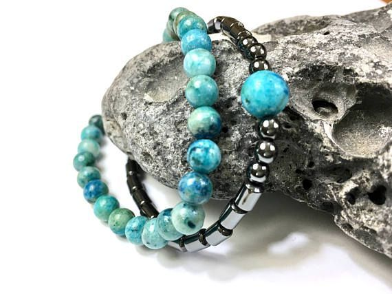 Stone bracelet(s) - handmade in USA. Striking hemimorphite with black hematite. https://www.etsy.com/listing/533750165/womens-bracelet-set-earthy-gift-for-her?ref=shop_home_feat_1&utm_content=buffer952b3&utm_medium=social&utm_source=pinterest.com&utm_campaign=buffer #etsymntt #jewelry #Bracelet