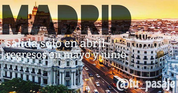 Buenos días estimados clientes disponibilidad de Madrid para salida el 25 y 27 de abril con regresos en mayo junio y julio. ÚNICA FECHA DE SALIDA Escribanos al direct  o al whatsapp para cualquier tipo de cotización.  #Vuelos#internacionales#nacionales#agencia#viajes#Madrid#españa#miamibeach#miamiheat#newyork#hoteles#cruceros#vehiculos#miami#aruba#curazao#bogota#medellin#usa#puntacana#santodomingo#viajar#lecheria#anzoategui#ptolacruz#barcelona#venezuela by tu_pasaje