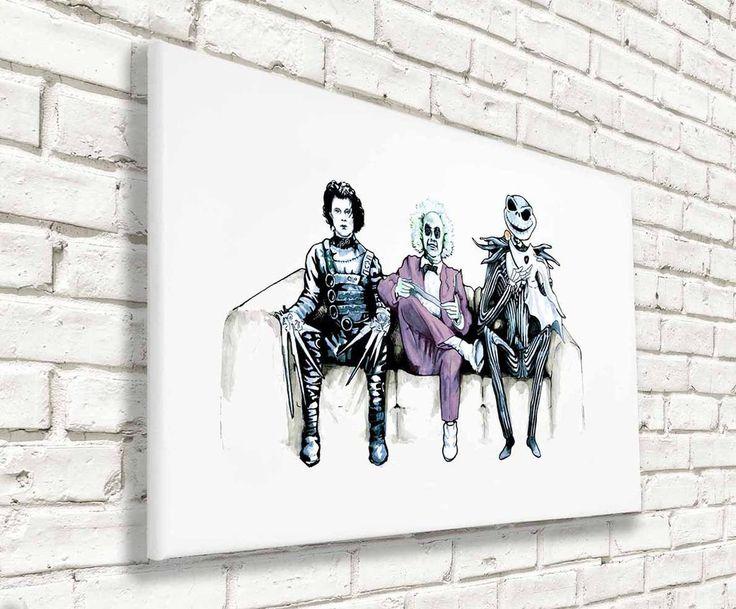 Tim Burton Cast - Beetlejuice, Ed and Jack - Wall Canvas