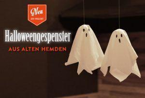 DIY: süße Halloweengespenster aus alten Hemden basteln. Das Tutorial mit Materialliste findet Ihr hier: https://www.deko-kitchen.de/diy-suesse-halloween-gespenster-aus-alten-hemden/