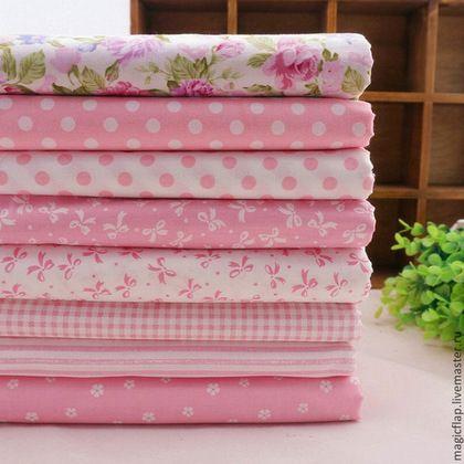 """Шитье ручной работы. Ярмарка Мастеров - ручная работа. Купить Набор тканей для пэчворка """"Розовые мечты"""". 100% хлопок поплин, 8шт. Handmade."""