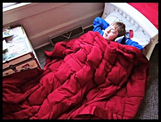 Photo Tutorial: How to make a No Sew weighted blanket for Sensory Processing Disorder
