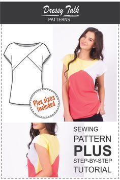 Top Muster Bluse Muster Bluse-Sewing von DressyTalkPatterns                                                                                                                                                                                 Mehr
