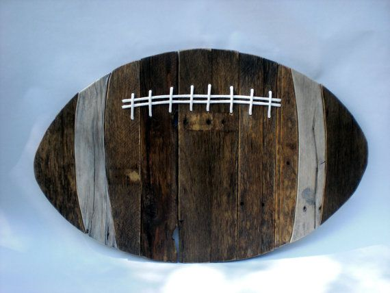Reclaimed Wood Football 30 x 19in by ConversationBits on Etsy