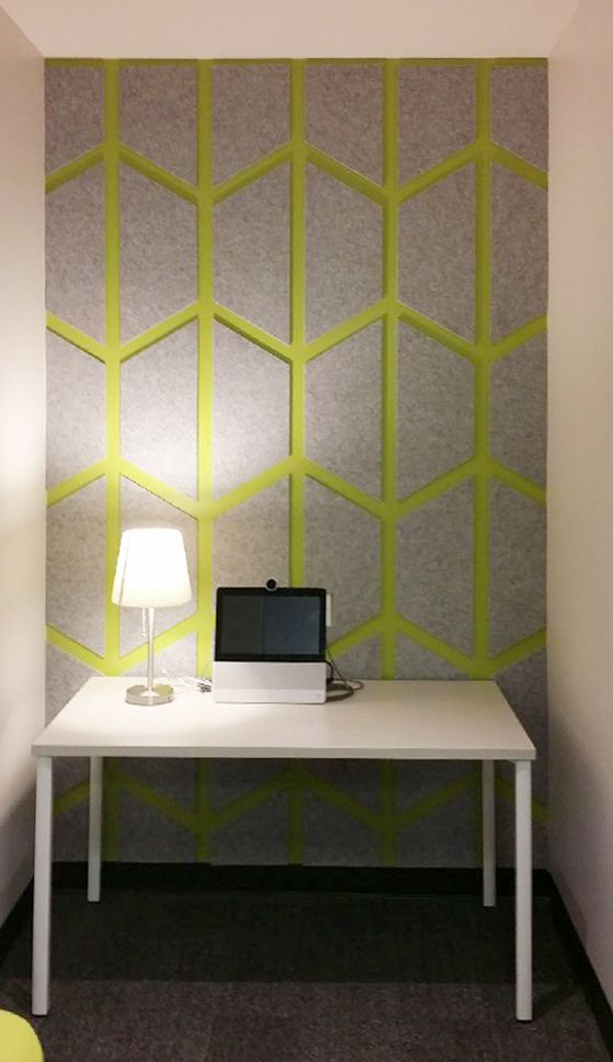 ezo on ezo installation allows you to layer different colored acoustic sheets to bring your own style to any wall installation
