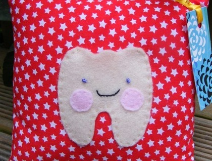 Red & White Star Tooth Fairy Pillow  SORRY SOLD