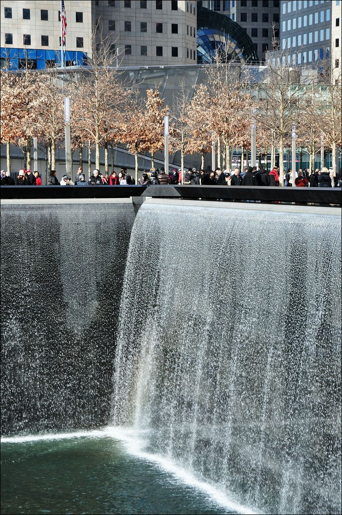 The National September 11 Memorial / New York Architect: Michael Arad; landscape architect: Peter Walker, 2011. Walls of tears cascade down the huge footprints left where the twin towers once stood.