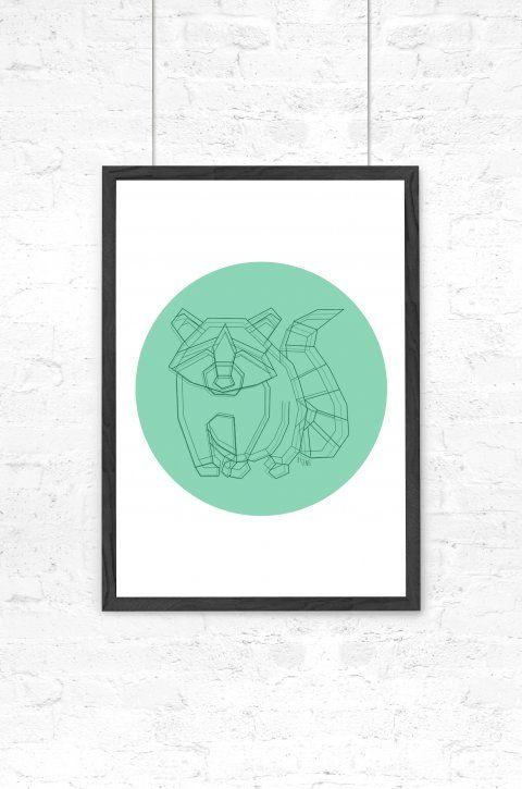 By Tinit – Grafisk illustration – Racoon Dot - Designbutik  #illustration#bytinit#børneværelse#vaskebjørn#mint