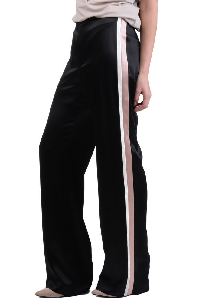 LANVIN Satin Trousers Size 38   M Contrast Side Inserts Straight Leg RRP  689  fashion  clothing  shoes  accessories  womensclothing  pants (ebay  link) beabe760672c3