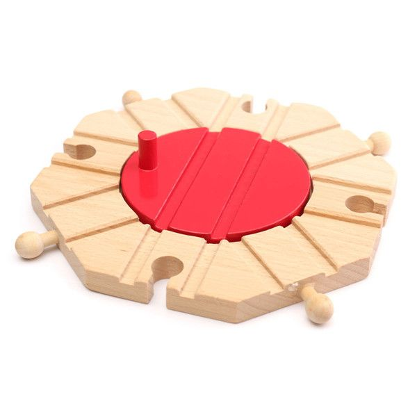1pcs Miniature Wooden Train Switch Track Set Circular Turntable Educational Toys Boy Kids Toy Fit Thomas and Brio