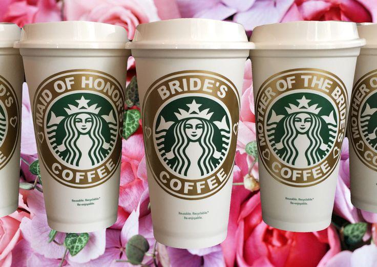 Bridal Party Starbucks Travel Coffee Mug for Bride Bridesmaid Engagement Maid of Honor Groom & Best Man Gift by StarTangledArts by StarTangledArts on Etsy https://www.etsy.com/listing/285805777/bridal-party-starbucks-travel-coffee-mug