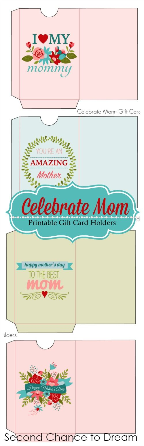 Mother's Day is coming!  Treat mom to her favorite gift card and use these m Printable Gift Card Holders to give it in. #mothersday