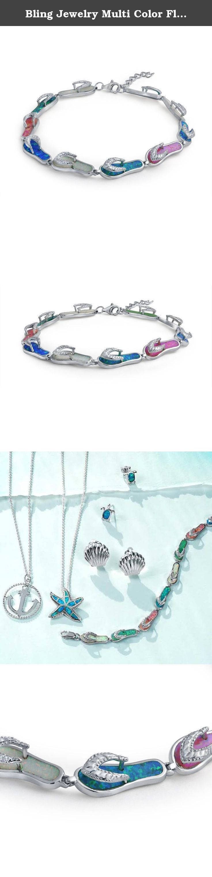 Bling Jewelry Multi Color Flip Flop Sandal Synthetic Opal Bracelet 925 Silver. Nothing epitomizes summer like a pair of flip flop sandals. Wear summer colors with this multi color Synthetic Opal bracelet and you will be transported back to your favorite time of year. Wear it on vacation or when you want to feel the memories of warm and playful weather. A mix of blue, green, white and pink Synthetic Opal inlay adorn a strand of nine sandals that sparkle on your wrist. The fun array of…