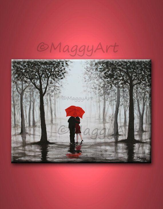 originele abstracte schilderkunst, rode paraplu, home decor, zoenen in regen, zwart wit rood, liefde paar, 24 x 18 inch, geweldige bruiloft cadeau