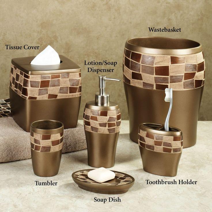 elegant bathroom accessories set with golden color and garnish box