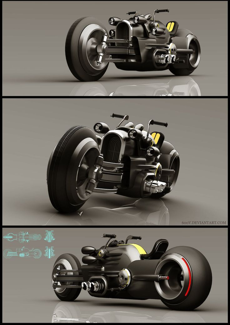 Image via  It's like the reverse of a common motorcycle... fat tire up front.   Image via  The Tomahawk was built by dodge to showcase their Viper V10 engine. They made only a limited number