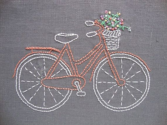 Bicycle embroidery pattern and kit  coral bike by iHeartStitchArt