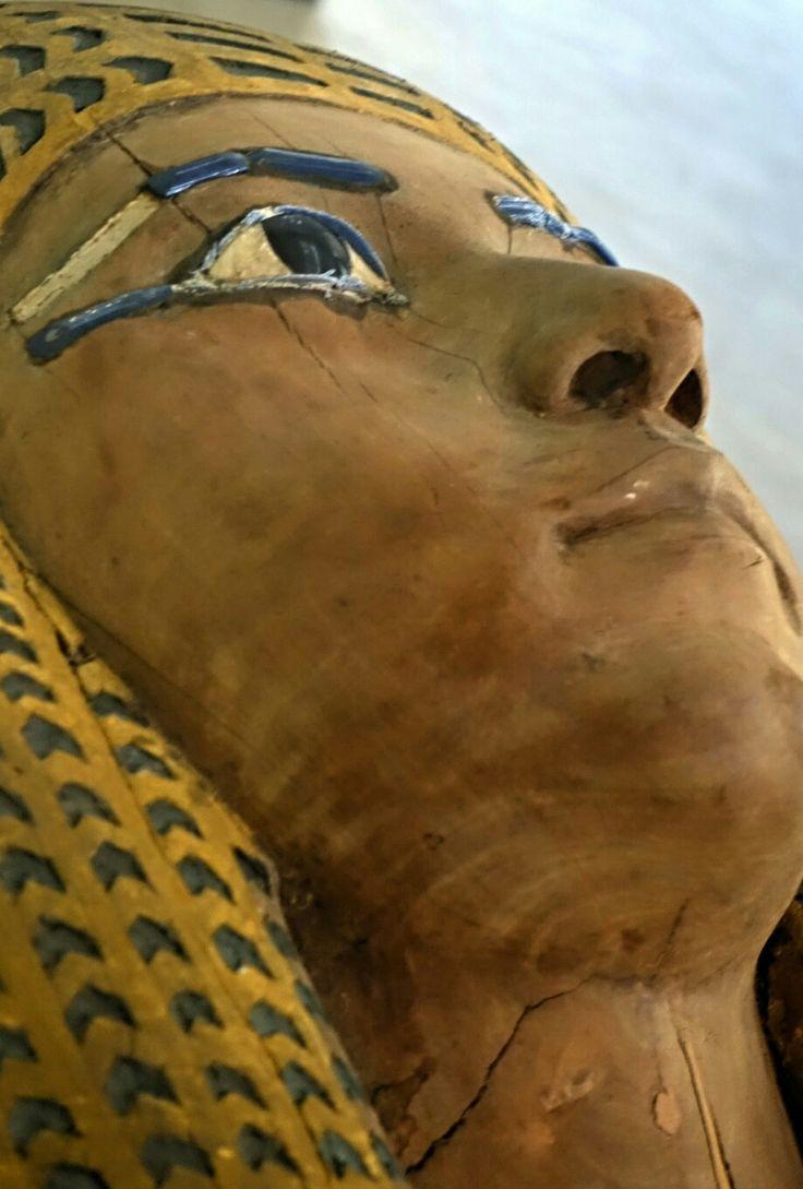 Outer woodcoffin of Queen Merytamun face details. ... Egyptian Museum, Cairo Egypt.