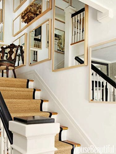 White balusters and newel, black banister and newel top, oak treads, all tied together with seagrass runner with black borderSouth Shore Decorating Blog: 50 Favorites for Friday (#95)