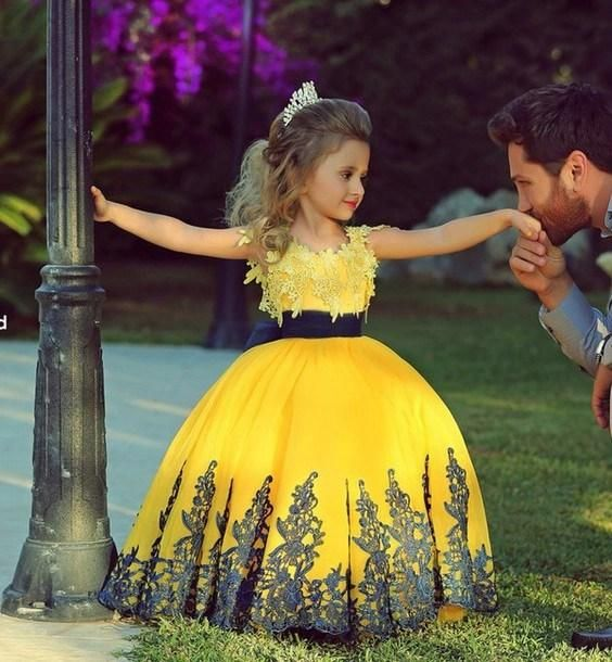 Pink Princess Dress Cute Yellow Ball Gown Flower Girl Dresses Jewel Neckline Cap Sleeve Applique Lace Bow Waist Floor Length Little Girl Dress Pageant Gowns Toddler Easter Dresses From Lovekissbridal, $65.97| Dhgate.Com