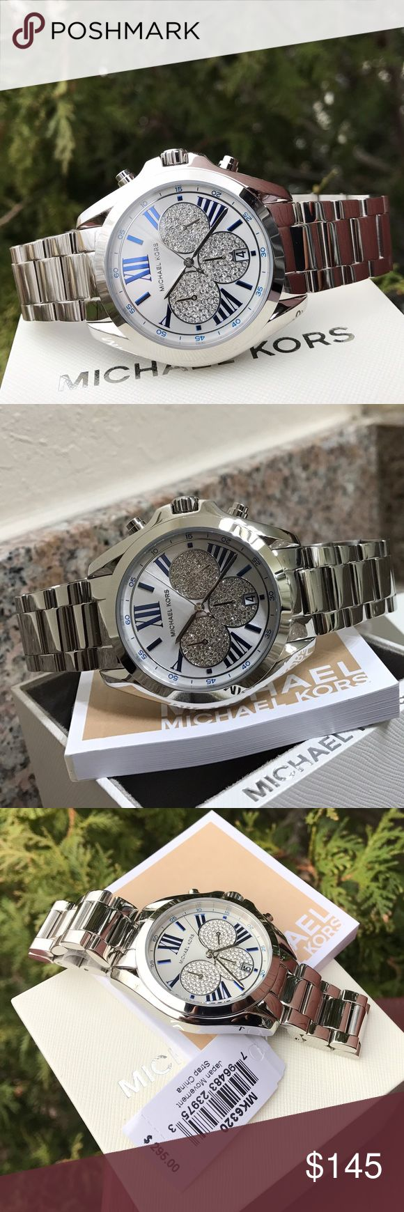 $295 Michael Kors Bradshaw Glitz Glam Watch MK6320 LAST 1! Guaranteed Authentic MK6320 / Model: Bradshaw / Retail: $295 / Silver stainless steel / New with Michael Kors watch box and owners booklet included / Chronograph glitz dial / 38mm case / 10 ATM / UPC: 796483239753 / No trades. Buy now or offer only / Shipped same business day Michael Kors Accessories Watches