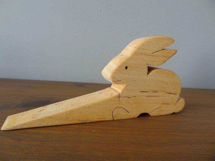 Wooden Rabbit Door Wedge / doorstop | eBay