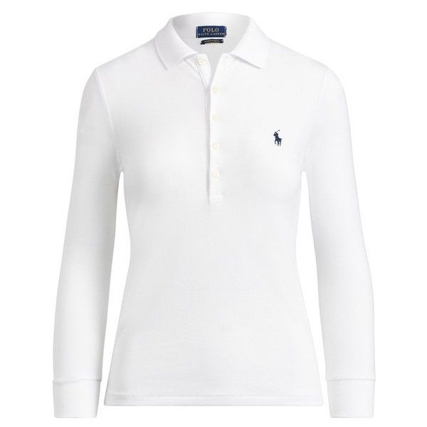 Polo Ralph Lauren Slim Fit Stretch Polo Shirt ($115) ❤ liked on Polyvore featuring tops, long-sleeve, white, white long sleeve shirt, white long sleeve top, long-sleeve crop tops, embroidered mesh top and long sleeve mesh shirt
