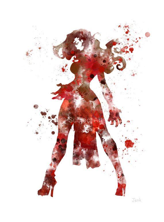 Ilustración de lámina de bruja escarlata, superhéroes, Marvel, Vengadores, X-Men, decoración casera, arte de la pared