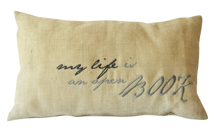 'My life is an open book' cushion. Embroidered on natural hessian. 35 x 60cm