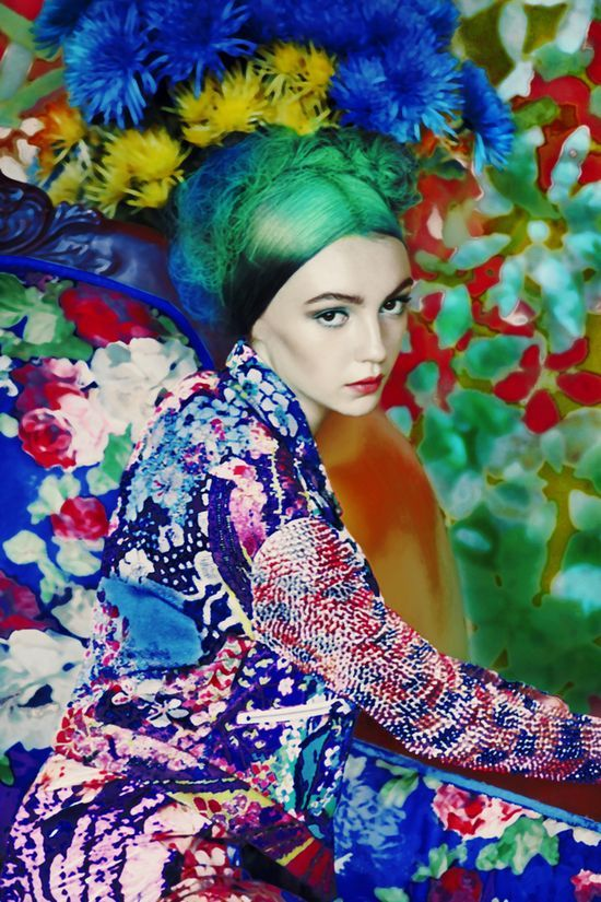 Mary Katrantzou hyper real paintings. so cool.Marykatrantzou, Mary Katrantzou, Flower Power, Madigan Heck, Green Hair, By Erik Madigan, Fashion Photography, Floral, Colors Fashion