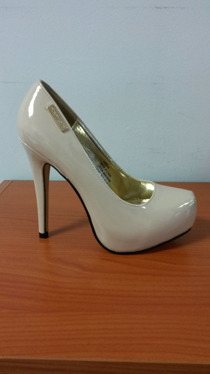 Nude Patent Leather High Heeled Platform by Sissy Boy