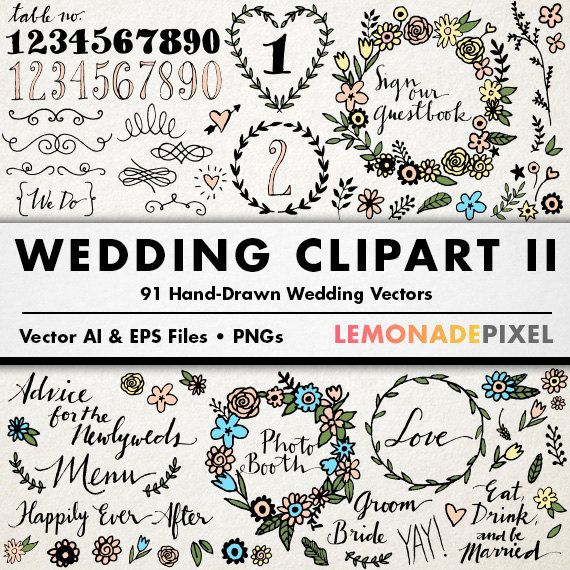 Floral Clip Art, Hand Drawn Wedding