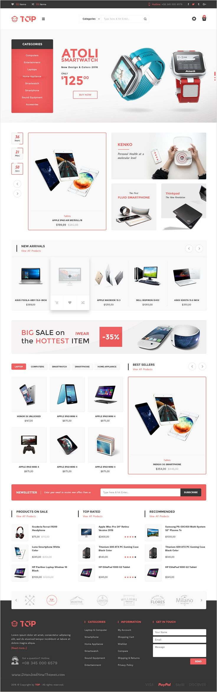 Top is a modern and creative #PSD #template for multipurpose #electronics #shop eCommerce website with 7 amazing homepage layouts download now➩ https://themeforest.net/item/top-ecommerce-psd-template/17388817?ref=Datasata