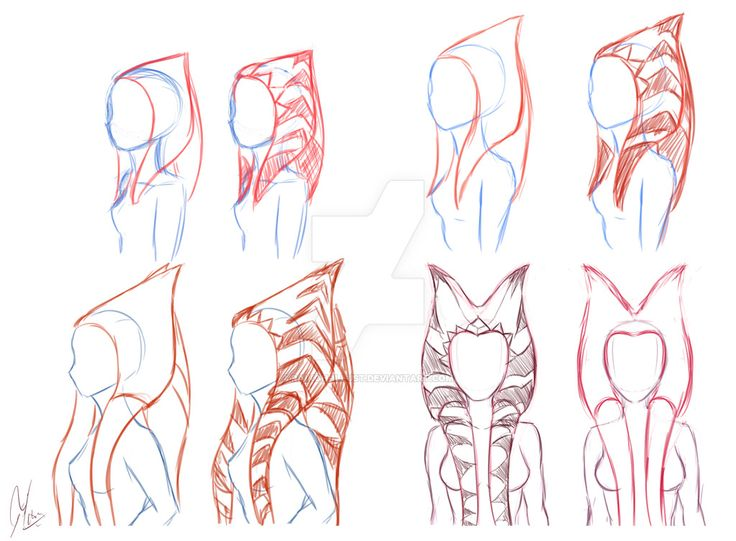 I was inspired by some conversations I had on tumblr to make a few sketches exploring the way to draw these most iconic features that togrutas have. In this case I used Ahsoka since we see hers cha...