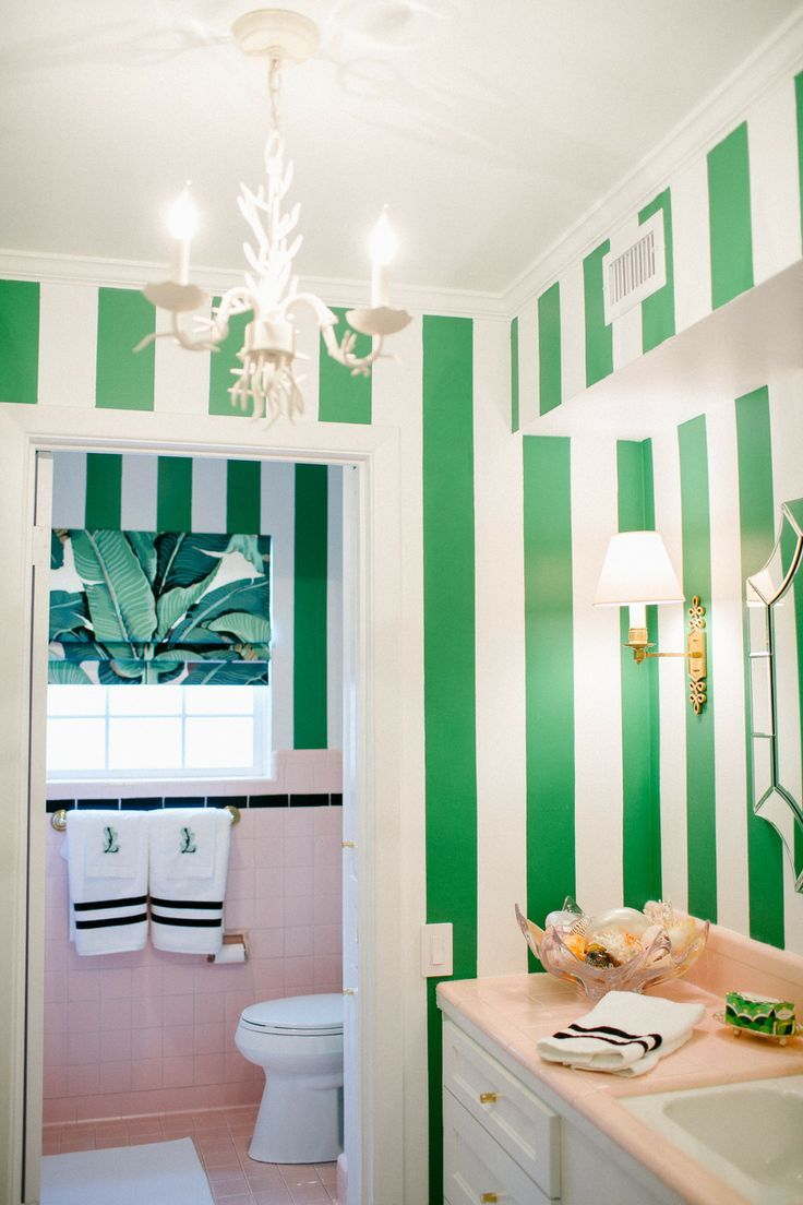 Lime green and white bathroom - Green White Stripes Banana Leaf Fabric Partners With Vintage Pink Tile To Create This Palm Beach Chic Meets Beverly Hills Hotel Inspired Bathroom