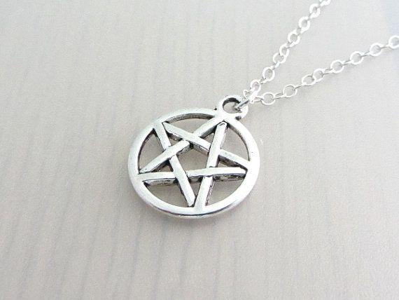 Silver Supernatural Pentagram Necklace by purplewyvernjewels