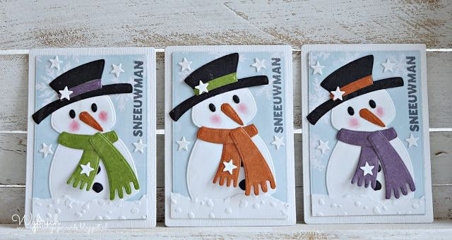 Handmade ATC cards by DT member Wybrich with Collectables Eline's Snowman (COL1413), Design Folder Snowflakes (DF3419), Little Stars (DF3417) and ATC Pocket Letter Stencil (PL6501) from Marianne Design