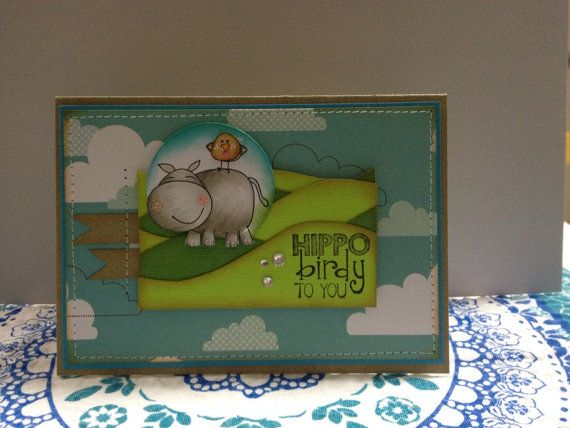 Hippo Birdy to you by Leighscards on Etsy