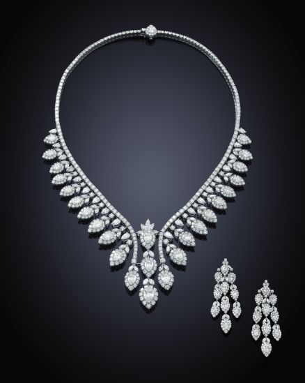 A spectacular diamond necklace and earring suite.
