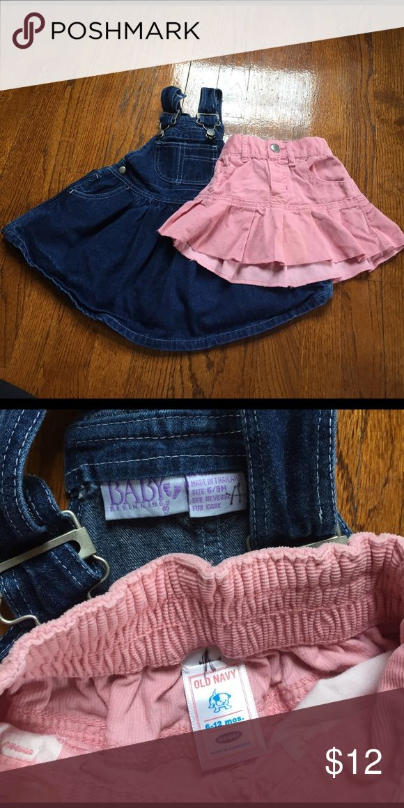 EUC 6 mo Old Navy skirt and Baby Beginnings dress EUC Old Navy pink corduroy skirt (size 6-12 months) and Baby Beginnings jean overalls dress (size 6/9 months). Both are in great condition, no flaws or stains. Smoke free home, but we do have a cat and a dog. Old Navy Bottoms Skirts