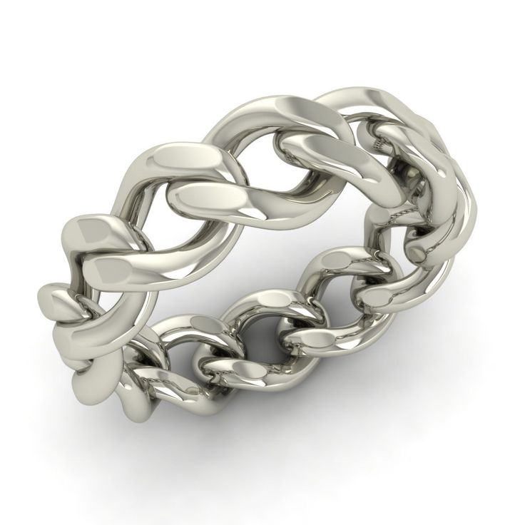 Men's Chain Link Band Ring in Solid 925 Sterling Silver 6 mm Band Free Shipping…