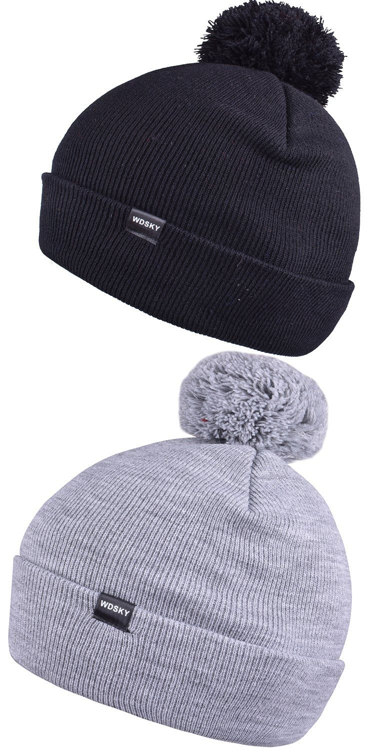3182807f431 Winter Knit Beanie with Pom for Men Women Soft Bobble Hats Warm Skull Caps  -- You can get more details by clicking on the image. (This is an affiliate  link)