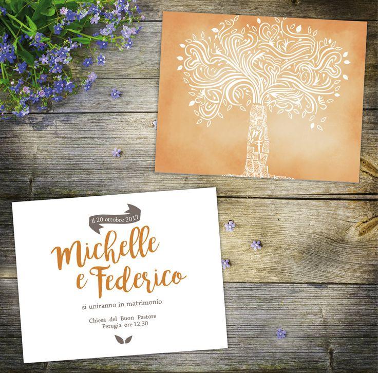 wedding invitations,autumn wedding, love tree, name initials by graficious on Etsy