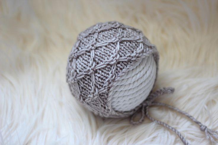 Knitting Pattern, Knit PDF Pattern,  Newborn Hat Pattern, PHOTO shoot prop,  Knit, Tutorial, PDF, Newborn hat, Jayden Bonnet by CreamoftheProp on Etsy