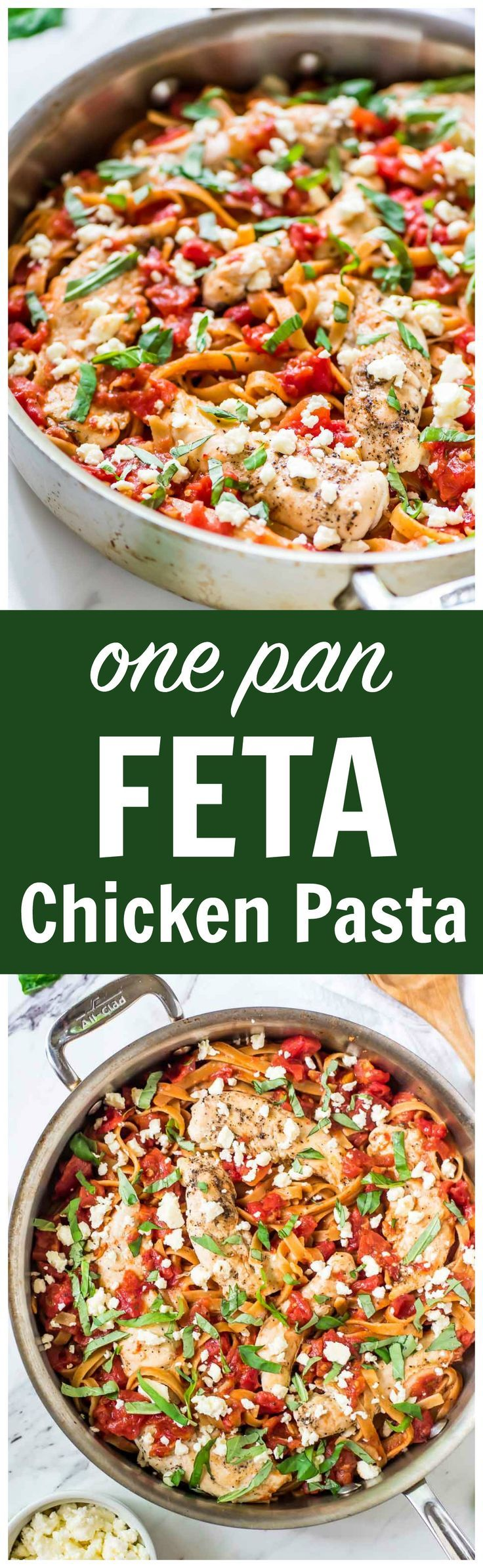 ONE PAN Feta Chicken Pasta Skillet – Only 5 ingredients! Everything cooks in one pan, including the pasta. EASY, delicious, and ready in less than 30 minutes! Recipe at wellplated.com @Well Plated